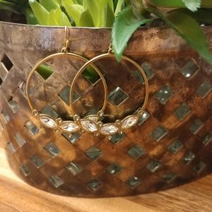 Silpada brass & crystal hoop dangling earrings